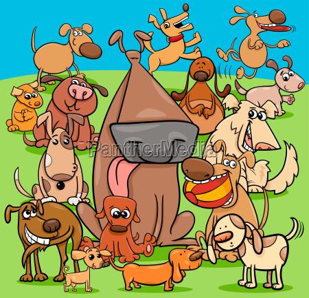 jugueton perros dibujos animados grupo de