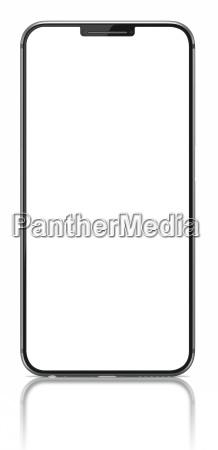 smartphone con pantalla en blanco en
