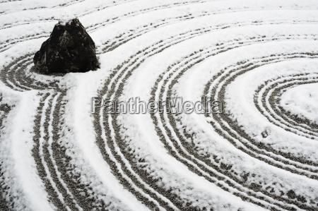 snow covered rock garden in zuiho