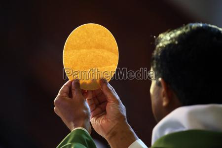 catholic mass eucharist celebration france europe