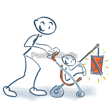 stick figure with childrens buggy child