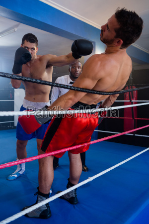 young boxer punching male competitor