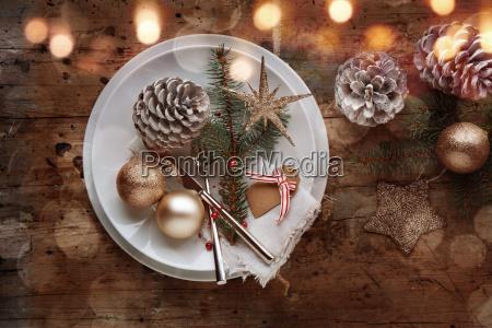 festive christmas table decoration in shabby