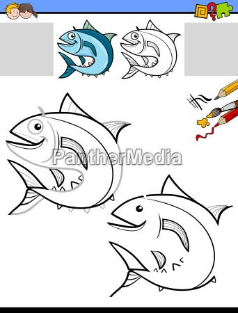 hoja de trabajo para dibujar y colorear con peces - Foto de archivo ...