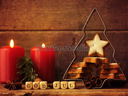 scandinavian christmas background with star shaped