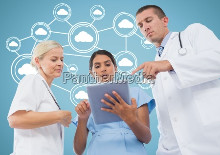 male and female doctors discussing over