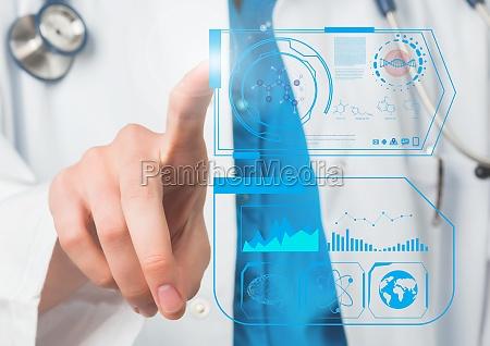 medico mujer carrera aplicacion mano dedo