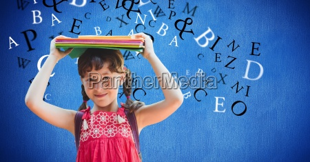 digital composite image of girl carrying