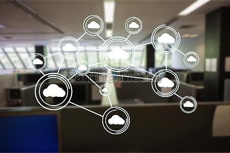 digitally generated image of cloud computing