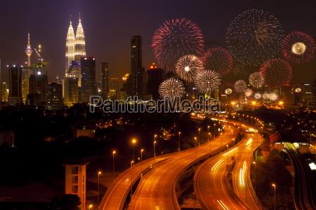 kuala lumpur city with fireworks