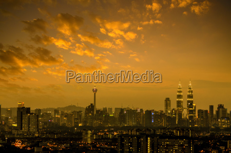 kuala lumpur city skyline in night