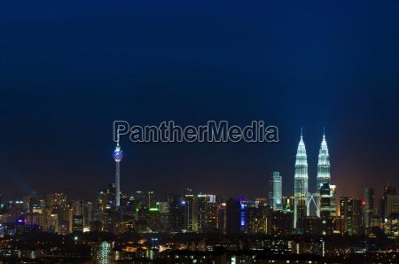 kuala lumpur city skyline night landscape