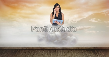 digital composite image of woman holding