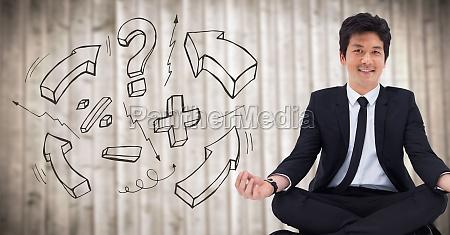 3d hombre de negocios meditando contra