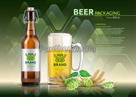 vector botella de cerveza realista y