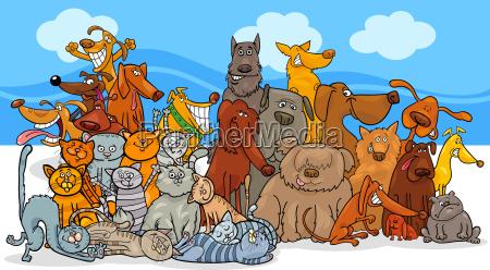 grupo de personajes de perros y