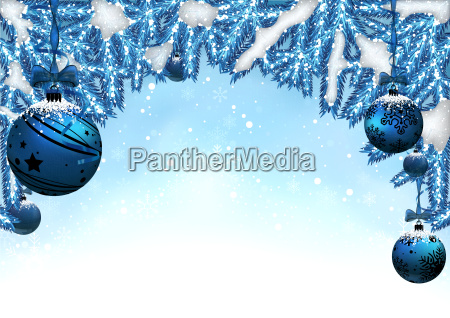 christmas background with baubles and coniferous