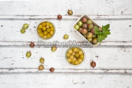 cardboard box of gooseberries and jars