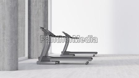 treadmills in empty room