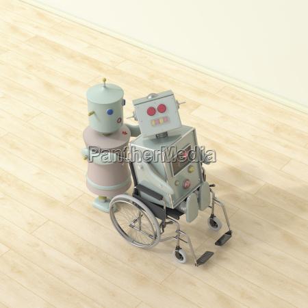 robot hembra empujando robot masculino sentado