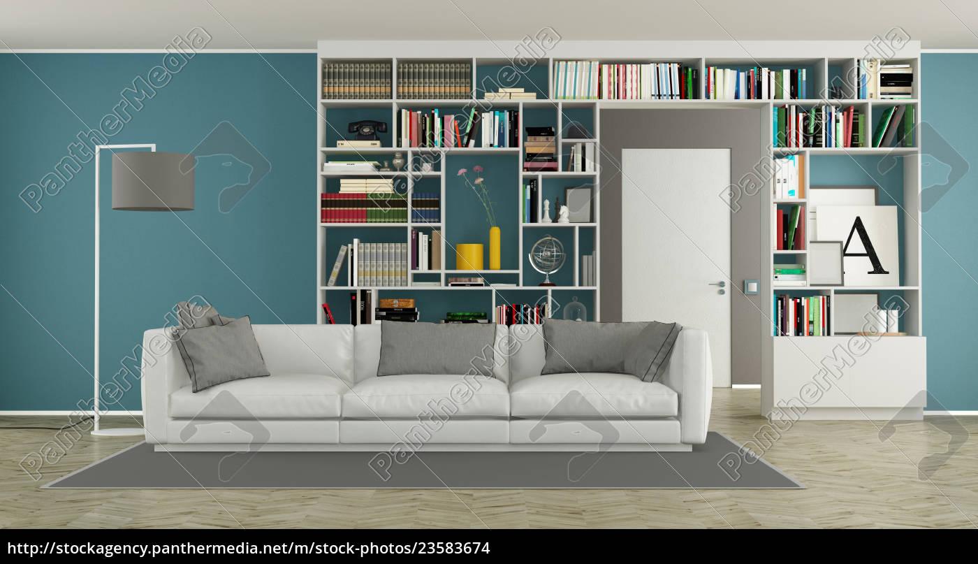 moderno, salón, con, estantería - 23583674