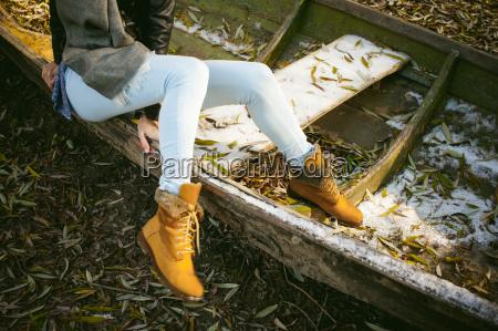 slim girls legs in blue jeans