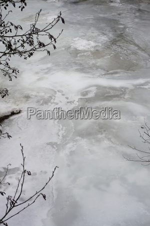 high angle view of frozen river