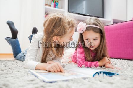 little girls read book