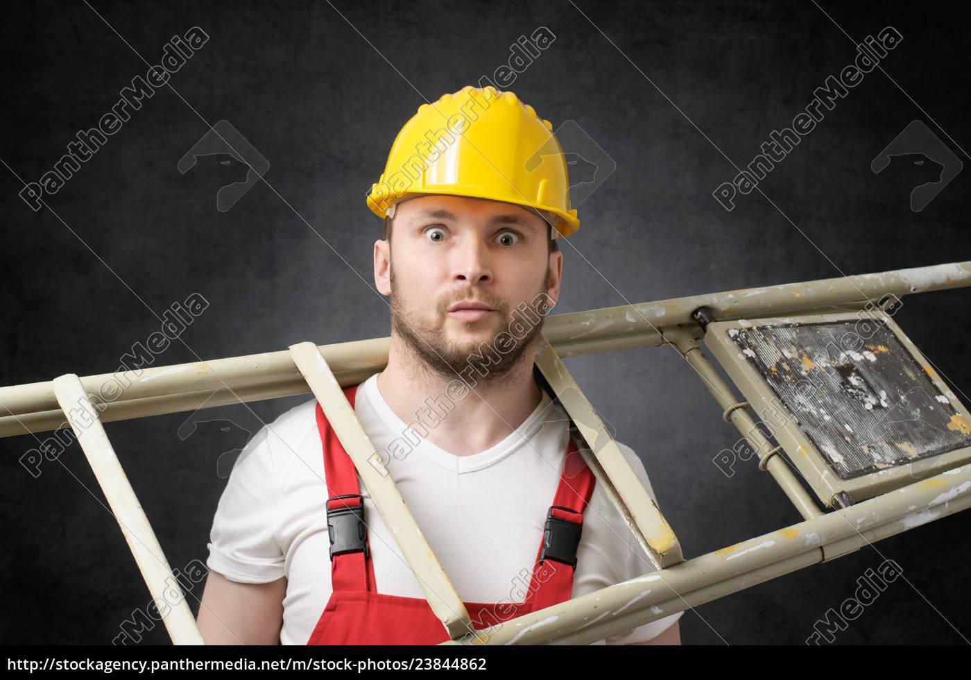 trabajador, torpe, con, la, escala - 23844862