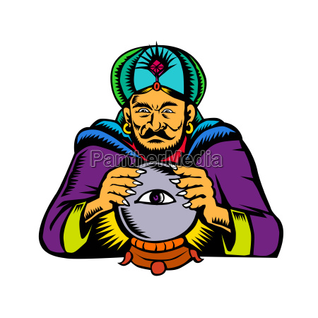 fortune teller con cristal bola woodcut