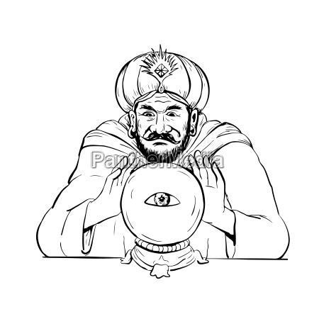 fortune, teller, crystal, ball, drawing - 23899970