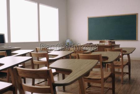 empty desk in elementary school classroom