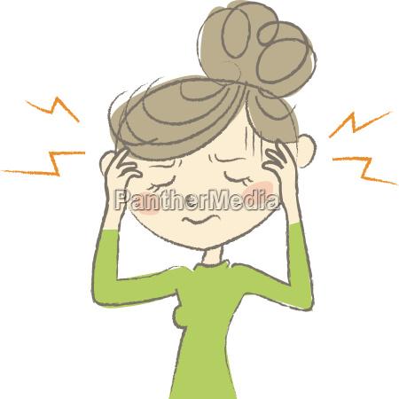mujer dolor dolor de cabeza fiebre