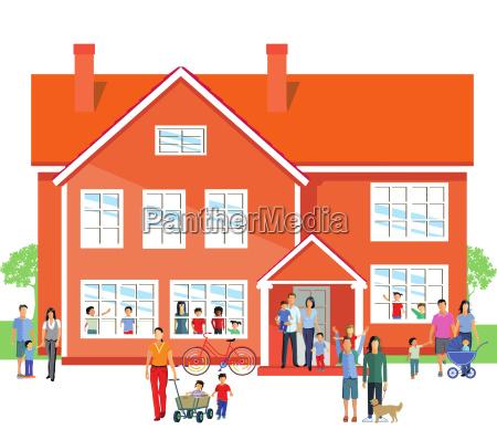 kindergarten con padres y familia