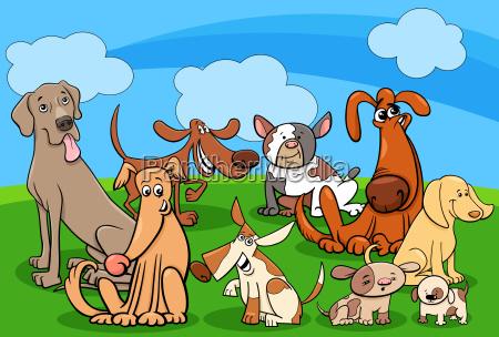personajes de perro grupo ilustracion de