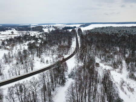 aerial view of road bends in