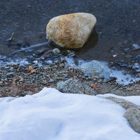 boulder in water