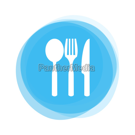 white cutlery on light blue button
