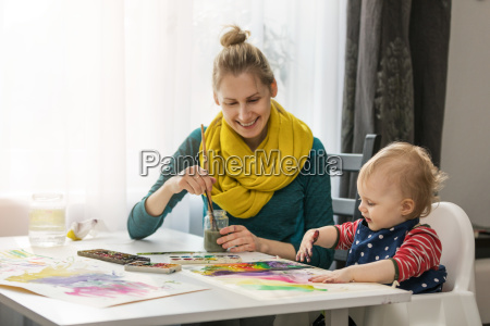 mother and child painting with watercolors
