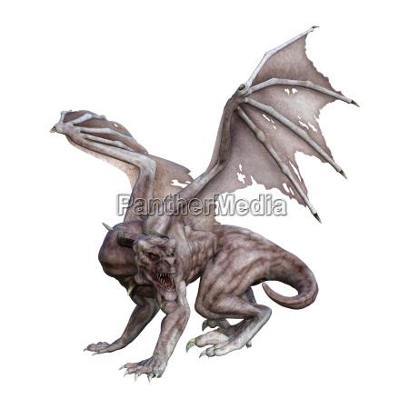 3d rendering fantasy vampire dragon on