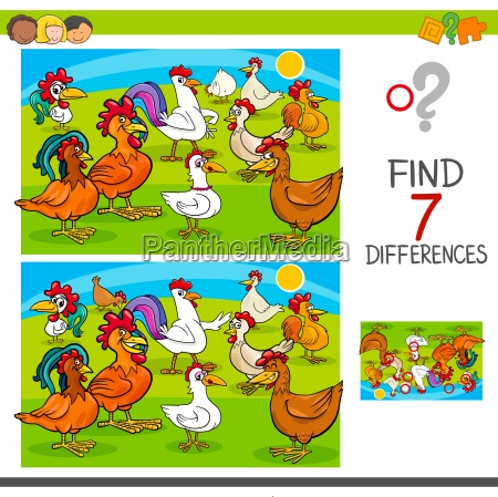 find differences game with chickens animal