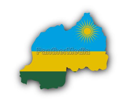 mapa y bandera de ruanda