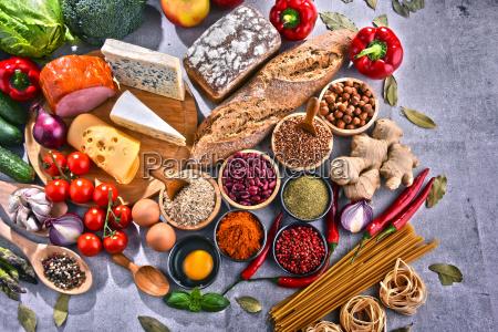 composicion con diversos productos alimenticios organicos