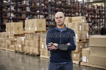 portrait of a caucasian warehouse worker