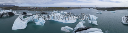 panoramic view of icebergs in water