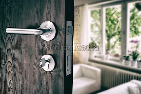 imagen compuesta de puerta marron con