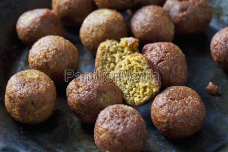 vegan vegetable balls in pan close