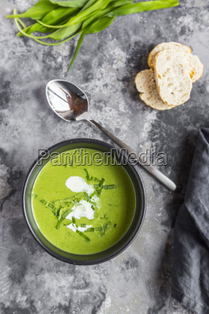 bowl of ramson soup garnished with