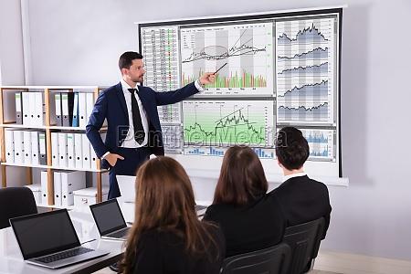 corredor del mercado de valores dando