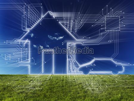 hogar conectado y concepto digital del